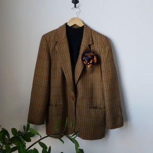 Vintage Wool Houndstooth Oversized Blazer Jacket